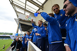 Bristol Rovers players celebrate - Photo mandatory by-line: Dougie Allward/JMP - Mobile: 07966 386802 - 25/05/2015 - SPORT - Football - Bristol - Bristol Rovers Bus Tour