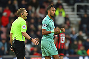 Substitution - Pierre-Emerick Aubameyang (14) of Arsenal turns to the fans with clenched fists as he is subsituted after he scored what was the winning goal during the Premier League match between Bournemouth and Arsenal at the Vitality Stadium, Bournemouth, England on 25 November 2018.