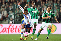 FOOTBALL - FRENCH CHAMPIONSHIP 2011/2012 - L1 - AS SAINT ETIENNE v OLYMPIQUE LYONNAIS - 17/03/2012 - PHOTO EDDY LEMAISTRE / DPPI - ALEXANDRE LACAZETTE  (OL) WITH SYLVAIN MARCHAL AND MAX ALAIN GRADEL (ASSE)
