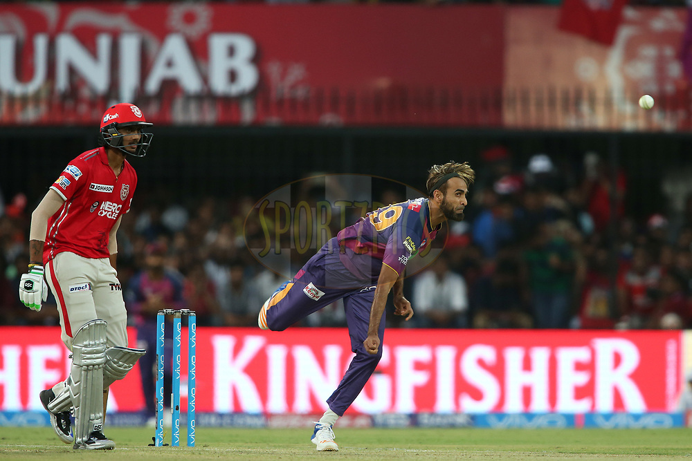 Imran Tahir of Rising Pune Supergiant sends down a delivery during match 4 of the Vivo 2017 Indian Premier League between the Kings XI Punjab and the Rising Pune Supergiant held at the Holkar Cricket Stadium in Indore, India on the 8th April 2017<br /> <br /> Photo by Shaun Roy - IPL - Sportzpics