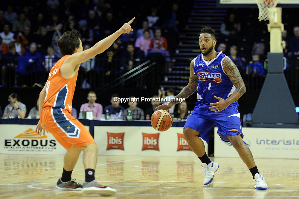Wellington Saints' BJ Anthony in action during the NBL match between Wellington Saints v Southland Sharks, TSB Arena, Friday 19th May 2017. Copyright Photo: Raghavan Venugopal / www.photosport.nz