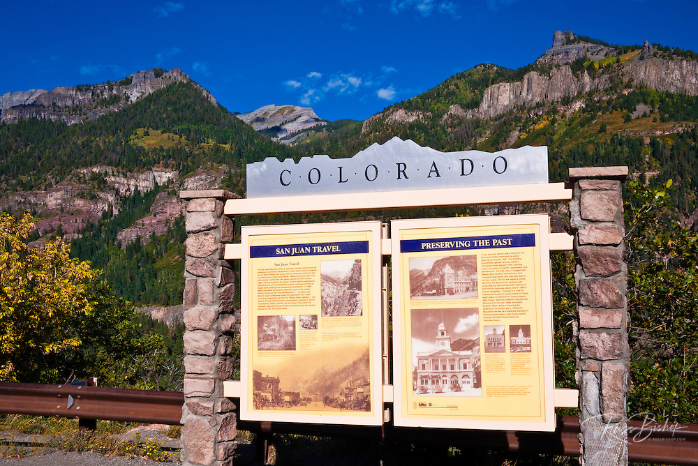 Interpretive sign above Ouray, Colorado