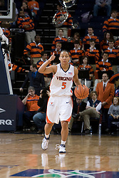 Virginia Cavaliers Guard Sharne? Zoll (5) calls a set play against Maryland.  The Maryland Terrapins defeated the Virginia Cavaliers 83-74 at the John Paul Jones Arena in Charlottesville, VA on February 10, 2007.