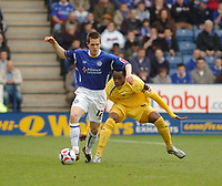 Photo: Leigh Quinnell.<br /> Leicester City v Preston North End. Coca Cola Championship. 15/04/2006. Leicesters Matty Fryant sheilds the ball from Prestons Claude Davis.