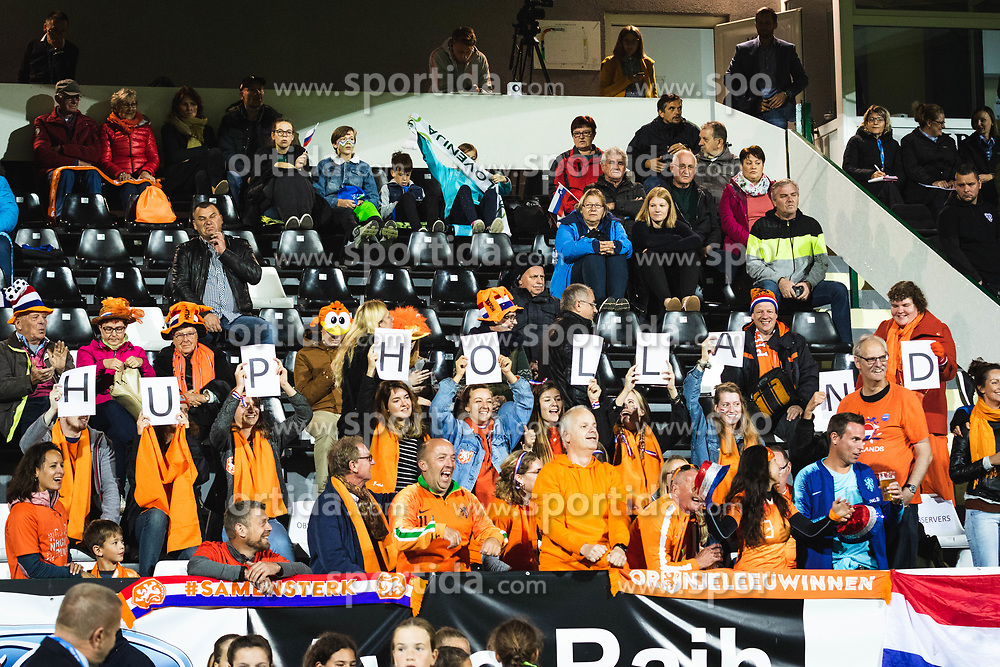 Fans from Nederland before football match between Slovenia and Nederland in qualifying Round of Woman's qualifying for EURO 2021, on October 5, 2019 in Mestni stadion Fazanerija, Murska Sobota, Slovenia. Photo by Blaž Weindorfer / Sportida