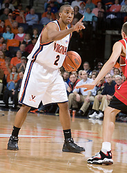 Virginia's J.R. Reynolds (2) sets the UVA offense in action against Maryland.  The Cavaliers defeated the #22 ranked Terrapins 103-91 at the John Paul Jones Arena in Charlottesville, VA on January 16, 2007.