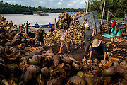 Vietnamese factory workers load wire baskets with coconut husks and carry them to nearby grinding machines at a coconut recycling facility near the city of Ben Tre.