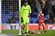 Nottingham Forest goalkeeper Costel Pantilimon (1) is dejected after an own goal by Nottingham Forest defender Jack Robinson (18) (on ground) during the EFL Sky Bet Championship match between Reading and Nottingham Forest at the Madejski Stadium, Reading, England on 12 January 2019.