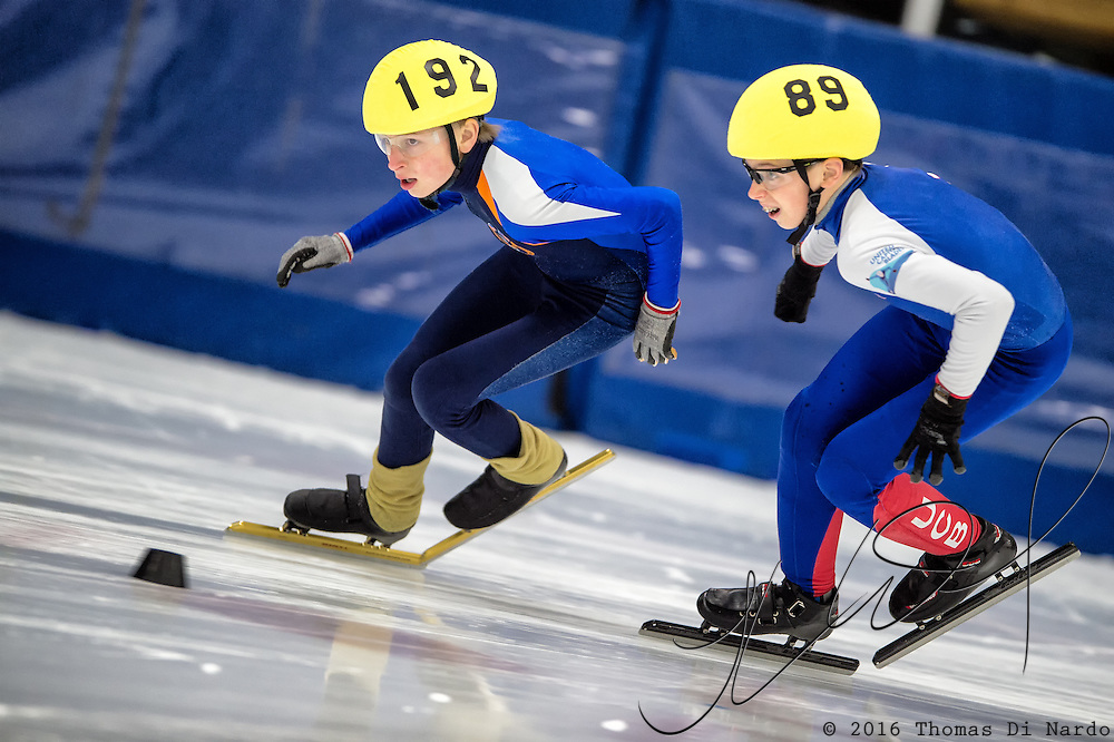 March 20, 2016 - Verona, WI - Jordan Stolz, skater number 192, and Ryan Hack, skater number 89, compete in US Speedskating Short Track Age Group Nationals and AmCup Final held at the Verona Ice Arena.