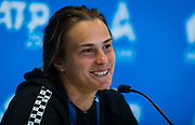 Aryna Sabalenka of Belarus talks to the media after winning her quarter-final match at the 2020 Adelaide International WTA Premier tennis tournament against Simona Halep of Romania. Photo Rob Prange / Spain ProSportsImages / DPPI / ProSportsImages / DPPI
