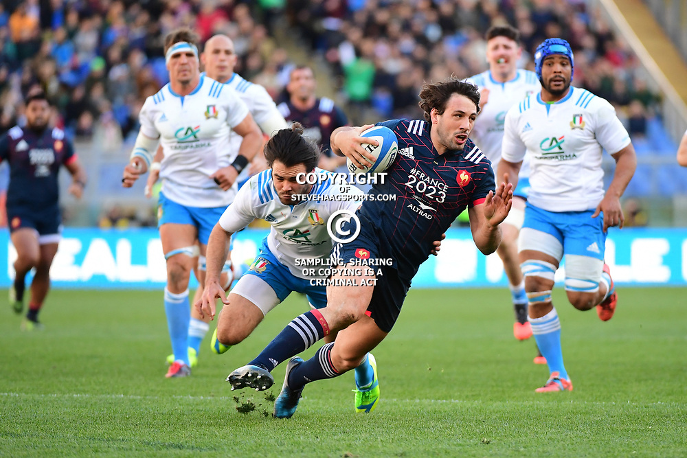 Remi Lamerat of France is tackled by Luke Mclean of Italy during the RBS Six Nations match between Italy and France at Olimpico Stadium on March 11, 2017 in Rome, Italy. (Photo by Dave Winter/Icon Sport)
