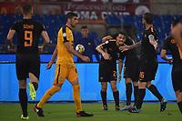 Esultanza Gol Edin Dzeko Roma con Alessandro Florenzi Goal celebration <br /> Roma 16-09-2017 Stadio Olimpico Calcio Serie A 2017/2018 AS Roma - Verona Foto Andrea Staccioli / Insidefoto