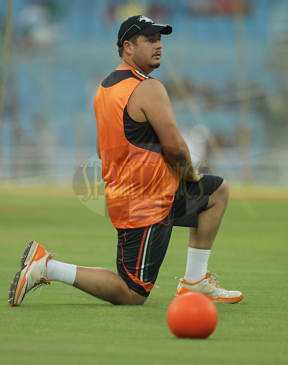 Pune Warriors player Jesse Ryder warm-up during  match 5 of the Indian Premier League ( IPL ) Season 4 between the Pune Warriors and the Kings X1 Punjab held at the Dr DY Patil Sports Academy, Mumbai India on the 9th April 2011..Photo by/BCCI/SPORTZPICS