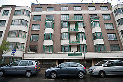 © Licensed to London News Pictures. 08/04/2012. London, UK. A run down block of flats on Myrdle Street,  Whitechapel, East London, the home of Trenton Oldfield who has been charged after he interrupted the 158th University Boat Race between Oxford and Cambridge. Photo credit : Ben Cawthra/LNP