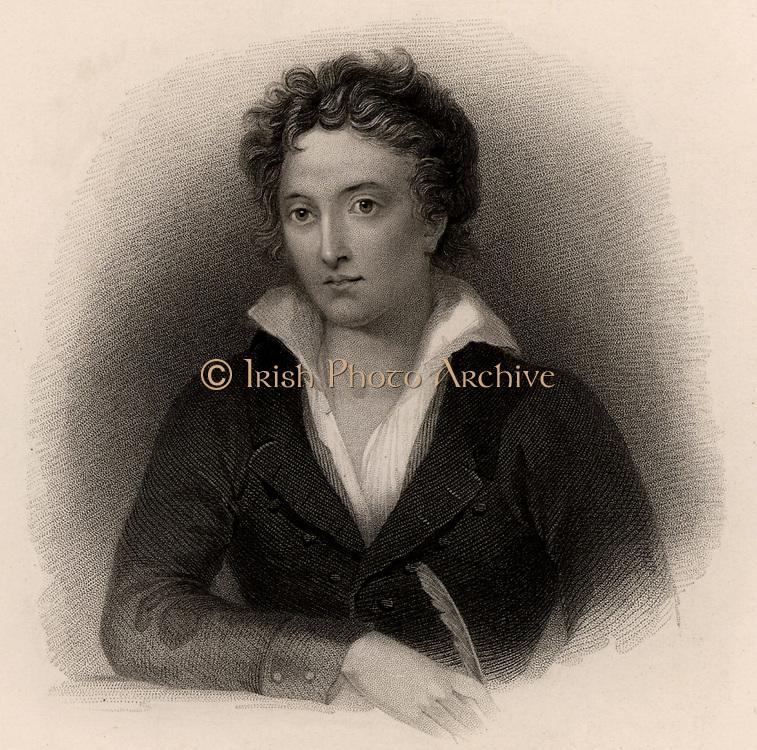 Percy Bysshe Shelley (1792-1822) English poet, born near Horsham, Sussex. Engraving.