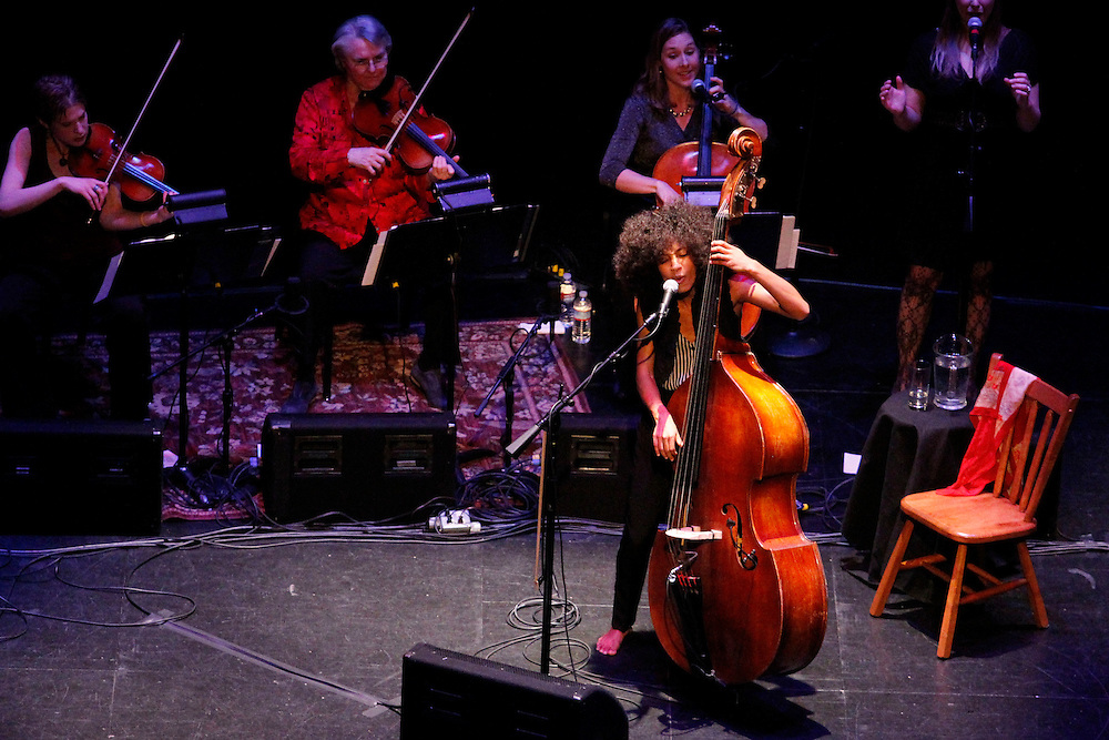 Esperenza Spalding performs in her hometown at the Newmark Theatre in Portland, Oregon on Friday, Feb., 25, 2011. The recent Grammy Award winner received a warm standing applause.