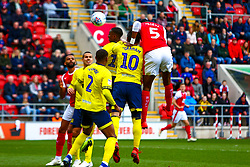 Semi Ajayi of Rotherham United heads at goal which gives Rotherham United the lead - Mandatory by-line: Ryan Crockett/JMP - 02/03/2019 - FOOTBALL - Aesseal New York Stadium - Rotherham, England - Rotherham United v Blackburn - Sky Bet Championship