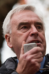 Shadow Chancellor John McDonnell addresses thousands of students attending a National Demonstration for a Free Education on 4th November 2015 in London, United Kingdom. The demonstration was organised by the National Campaign Against Fees and Cuts (NCAFC) in protest against tuition fees and the Government's plans to axe maintenance grants from 2016.