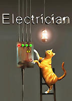 In this beautiful fine art piece, we find that a cat has taken up the job of an electrician. Their curiosity would certainly be sated in this career field, but it's difficult to imagine the cat will be able to flip some switches, if you happen to blow out a fuse! Nonetheless, you can see that this kitty is doing their very best to get to the root of the problem. They appear to be close to the answer, but it remains to be seen if your power is going to come back on. Still, we see the light has come on, so maybe we should give this cat some credit!