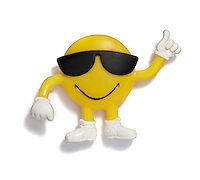 Smiley face bendable toy on white background