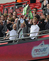Yeovil Town Manger, Gary Johnson and his back room staff Lift the League one Play off Trophy as he and his Yeovil Team celebrate winning the League One Play Off Final  - Photo mandatory by-line: Joe Meredith/JMP - Tel: Mobile: 07966 386802 19/05/2013 - SPORT - FOOTBALL - LEAGUE 1 - PLAY OFF - FINAL - Wembley Stadium - London - Brentford V Yeovil Town