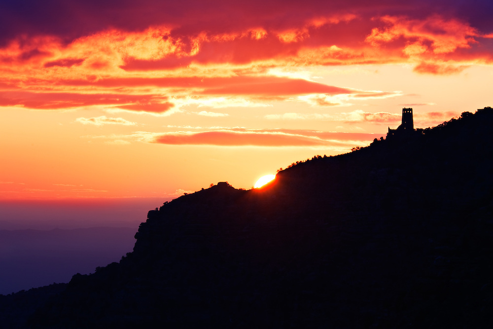 Sunrise at the Desert View watchtower. Grand Canyon National Park, Arizona.