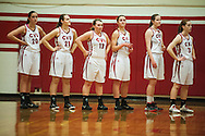 CVU line up for the playing of the National Anthem during the girls basketball game between the Essex Hornets and the Champlain Valley Union Redhawks at CVU high school on Tuesday night January 26, 2016 in Hinesburg. (BRIAN JENKINS/for the FREE PRESS)