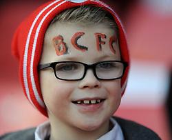 Bristol City fan with facepaint - Photo mandatory by-line: Dougie Allward/JMP - Mobile: 07966 386802 - 25/01/2015 - SPORT - Football - Bristol - Ashton Gate - Bristol City v West Ham United - FA Cup Fourth Round