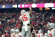GLENDALE, AZ - JANUARY 01:  Running back Ezekiel Elliott #15 of the Ohio State Buckeyes celebrates his first quarter touchdown during the BattleFrog Fiesta Bowl against the Notre Dame Fighting Irish at University of Phoenix Stadium on January 1, 2016 in Glendale, Arizona.  (Photo by Jennifer Stewart/Getty Images)