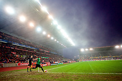 STOKE-ON-TRENT, ENGLAND - Sunday, January 4, 2015: Wrexham's captain Neil Ashton takes a corner as freezing fog descends during the FA Cup 3rd Round match against Stoke City at the Britannia Stadium. (Pic by David Rawcliffe/Propaganda)