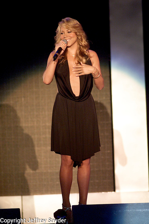 Singer, Mariah Carey onstage performing at the United We Stand: What More Can I Give? Concert a music benefit in the Nation's Capital to raise money in support of the recovery efforts from the September 11th attacks on America. The proceeds will go to various relief funds.  October 21, 2001 (Photo: Jeff Snyder)