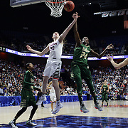 Breanna Stewart, (left) and Alisia Jenkins, USF, challenge for a rebound during the UConn Huskies Vs USF Bulls 2016 American Athletic Conference Championships Final. Mohegan Sun Arena, Uncasville, Connecticut, USA. 7th March 2016. Photo Tim Clayton