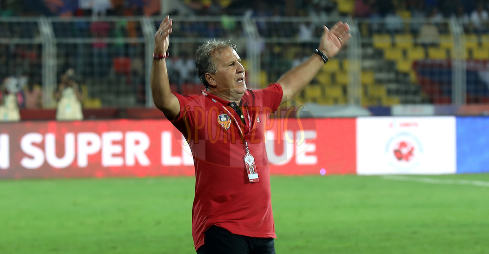 FC Goa coach Zico during match 8 of the Indian Super League (ISL) season 3 between FC Goa and FC Pune City held at the Fatorda Stadium in Goa, India on the 8th October 2016.<br /> <br /> Photo by Sandeep Shetty / ISL/ SPORTZPICS