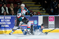 KELOWNA, CANADA - MARCH 11: Braydyn Chizen #22 of the Kelowna Rockets checks Carter Folk #21 of the Victoria Royals to the ice on March 11, 2017 at Prospera Place in Kelowna, British Columbia, Canada.  (Photo by Marissa Baecker/Shoot the Breeze)  *** Local Caption ***