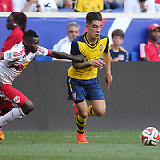 Hector Bellerin, Arsenal, in action during the New York Red Bulls Vs Arsenal FC,  friendly football match for the New York Cup at Red Bull Arena, Harrison, New Jersey. USA. 26h July 2014. Photo Tim Clayton