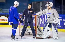 Jurij Repe of Slovenia, Gaber Glavic, assistant coach and Matija Pintaric of Slovenia during practice session of Team Slovenia at the 2017 IIHF Men's World Championship, on May 8, 2017 in Accorhotels Arena in Paris, France. Photo by Vid Ponikvar / Sportida
