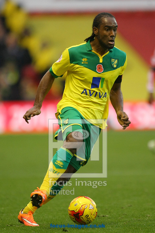 Cameron Jerome of Norwich in action during the Sky Bet Championship match at the City Ground, Nottingham<br /> Picture by Paul Chesterton/Focus Images Ltd +44 7904 640267<br /> 08/11/2014