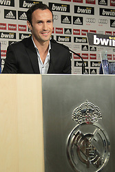 12.08.2010, Estadio Santiago Bernabeu, Madrid, ESP, Real Madrid, press conference, Ricardo Carvalhoas new player, im Bild Ricardo Carvalho press conference as new Real Madrid player. EXPA Pictures © 2010, PhotoCredit: EXPA/ Alterphotos/ Cesar Cebolla +++++ ATTENTION - OUT OF SPAIN +++++ / SPORTIDA PHOTO AGENCY