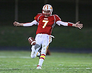 Marion's Trevor Hardman (7) punts the ball away during their second round playoff football game at Thomas Park Field in Marion on Monday, October 29, 2012.