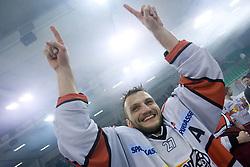 Miha Rebolj of Acroni Jesenice celebrates at 6th Round of ice-hockey Slovenian National Championships match between HDD Tilia Olimpija and HK Acroni Jesenice, on April 2, 2010, Hala Tivoli, Ljubljana, Slovenia.  Acroni Jesenice won 3:2 after overtime and became Slovenian National Champion 2010. (Photo by Vid Ponikvar / Sportida)