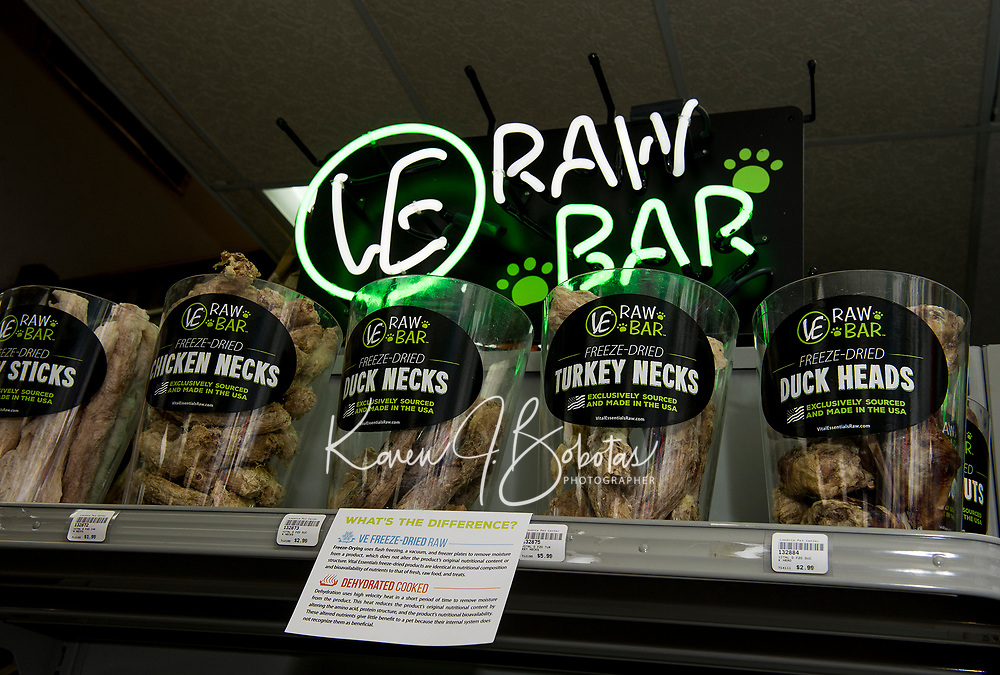 """While you shop your dog can enjoy a treat from the """"Raw Bar"""" at Laconia Pet Center on Union Avenue in Laconia.  (Karen Bobotas/for the Laconia Daily Sun)"""
