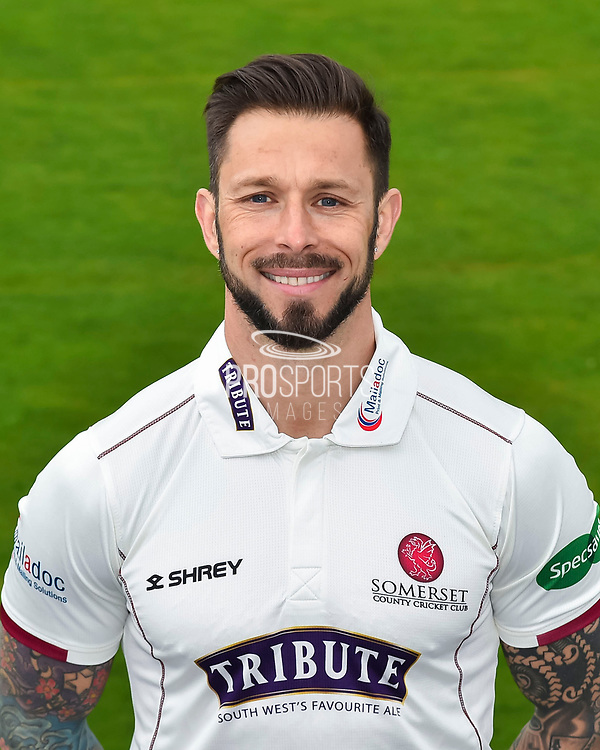 Head shot.  Peter Trego wearing the Somerset Specsavers County Championship kit at the media day at Somerset County Cricket Club at the Cooper Associates County Ground, Taunton, United Kingdom on 11 April 2018. Picture by Graham Hunt.