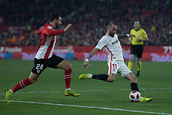 January 16, 2019 - Sevilla, Andalucia, Spain - Aleix Vidal of Sevilla FC and Balenciaga of Athletic Club competes for the ball during the Copa del Rey match between Sevilla FC v Athletic Club at the Ramon Sanchez Pizjuan Stadium on January 16, 2019 in Sevilla, Spain (Photo by Javier Montaño/Pacific Press) (Credit Image: © Javier MontañO/Pacific Press via ZUMA Wire)