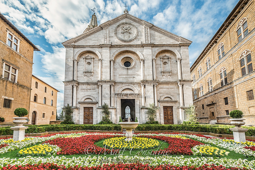 A lovely flower garden in front of an old church in the town of Pienza. (Photo by Travel Photographer Matt Considine)