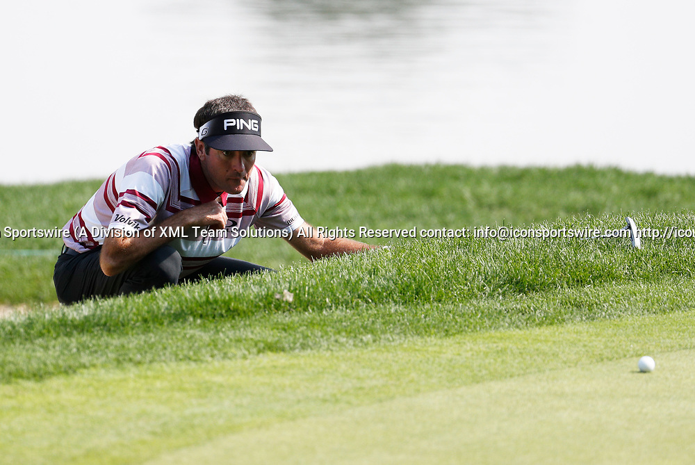 CROMWELL, CT - JUNE 23: Bubba Watson lines up his putt on 16 during the second round of the Travelers Championship on June 23, 2017, at TPC River Highlands in Cromwell, Connecticut. (Photo by Fred Kfoury III/Icon Sportswire)