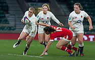 Danielle Waterman in action with Lydia Thompson and Amy Cokayne in support, England Women v Canada Women in an Old Mutual Wealth Series, Autumn International match at Twickenham Stadium, London, England, on 26th November 2016. Full time score 39-6