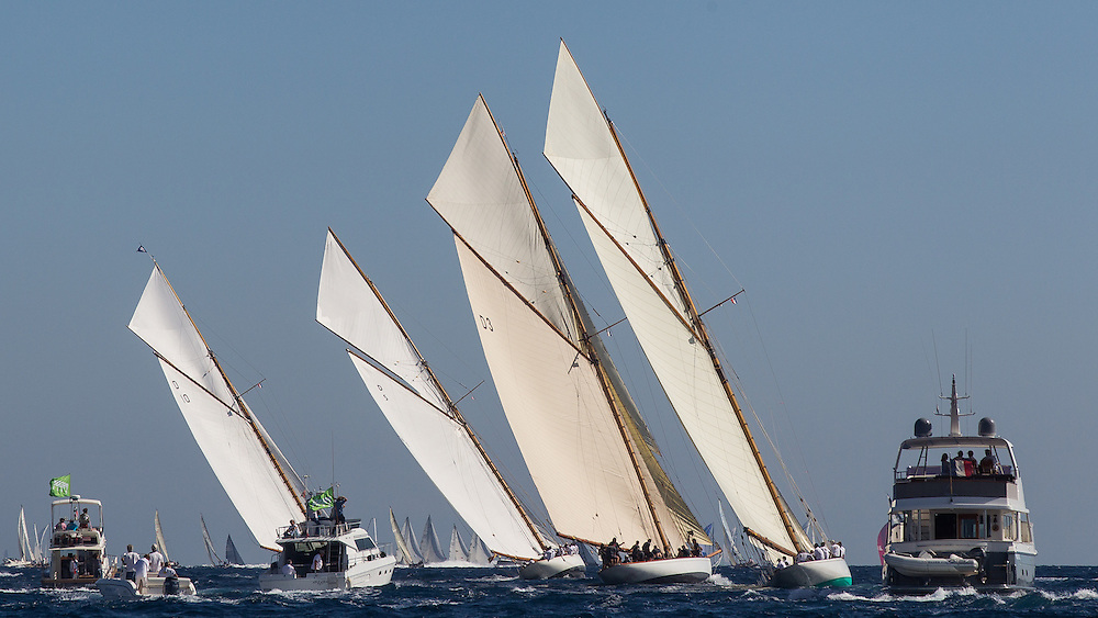 "FRANCE, St Tropez. 3rd October 2012. Voiles de St Tropez. 15-metre class fleet. L-R D10, ""The Lady Anne"" built in 1912. D5 (ESP1)  ""Hispania"" built in 1909, D3 ""Tuiga"" built in 1909 and D1 ""Mariska"" built in 1908. All boats designed by William Fife III."