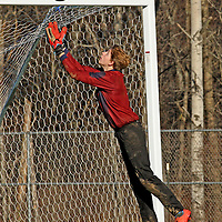 The White teams goalie from Cassadaga/Falconer Trevor Dykstra makes a save during soccer action 11-15-15 at Strider Field 11-15-15 photo by Mark L. Anderson