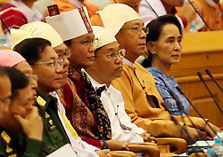 Newly-elected president of Myanmar U Htin Kyaw (2nd R) attends a session of Myanmar Union Parliament in Nay Pyi Taw, Myanmar, March 30, 2016. U Htin Kyaw of the National League for Democracy (NLD), led by Aung San Suu Kyi, was sworn in on Wednesday as Myanmar's new president. EXPA Pictures © 2016, PhotoCredit: EXPA/ Photoshot/ U Aung<br /> <br /> *****ATTENTION - for AUT, SLO, CRO, SRB, BIH, MAZ, SUI only*****