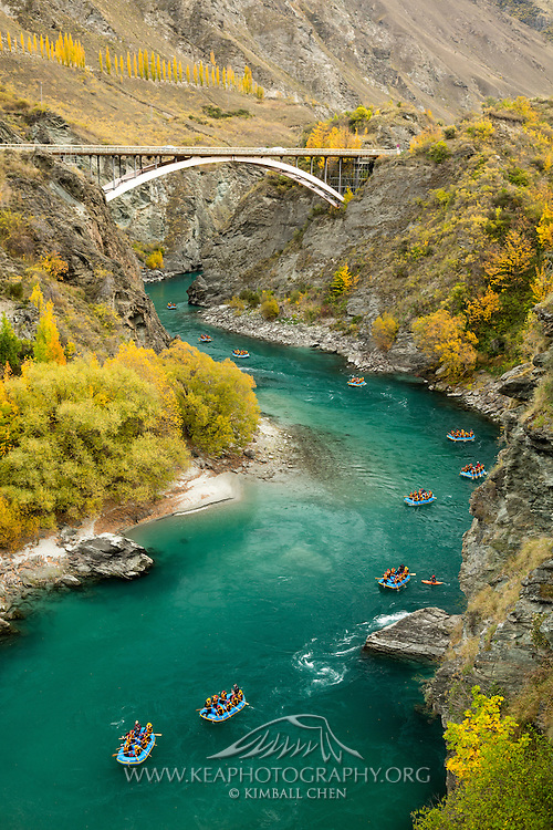 River rafters drifting along the Kawarua River, Queenstown